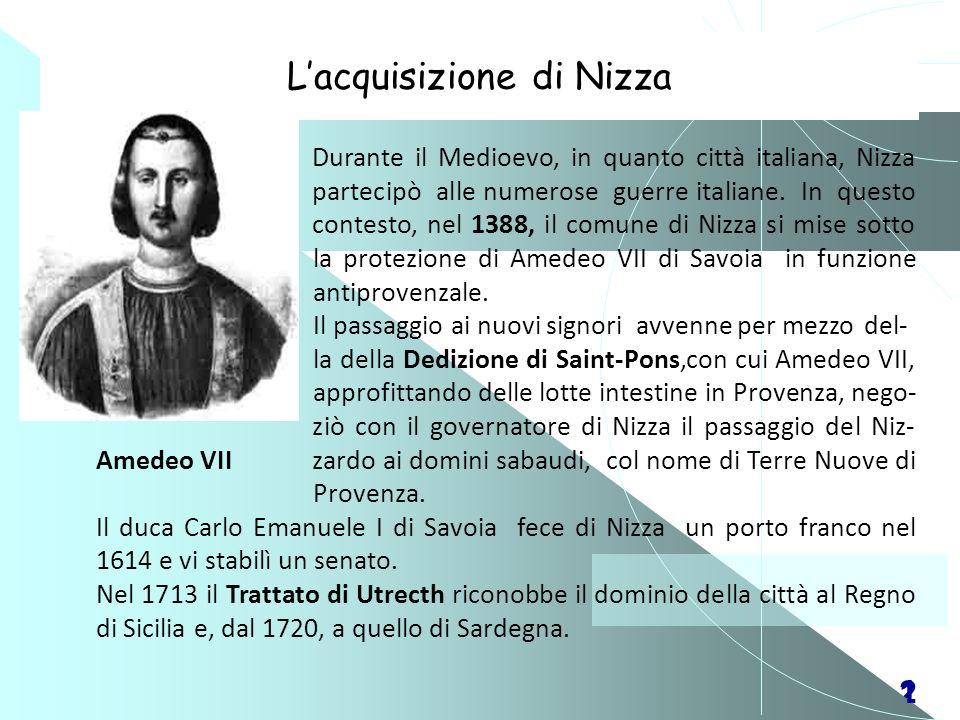 21 Durante il Medioevo, in quanto città italiana, Nizza partecipò alle numerose guerre italiane. In questo contesto, nel 1388, il comune di Nizza si m