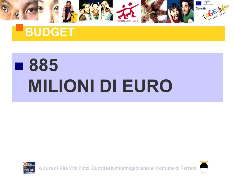 885 MILIONI DI EURO BUDGET A cura di Rita Vita Finzi, Eurodesk-Informagiovani del Comune di Ferrara