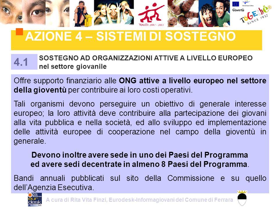 AZIONE 4 – SISTEMI DI SOSTEGNO SOSTEGNO AD ORGANIZZAZIONI ATTIVE A LIVELLO EUROPEO nel settore giovanile 4.1 Offre supporto finanziario alle ONG attive a livello europeo nel settore della gioventù per contribuire ai loro costi operativi.