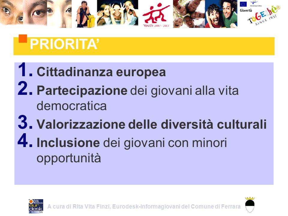 AZIONE 1 – GIOVENTU PER LEUROPA Aumentare la mobilità dei giovani (scambi giovanili) Sviluppare la cittadinanza dei giovani e la reciproca comprensione (Iniziative Giovani, Progetti di Democrazia Giovanile) SCAMBI GIOVANILI Età: 13 – 25 anni 1.1 INIZIATIVE GIOVANI Età: 18 – 30 (in casi particolari dai 15) 1.2 PROGETTI DI DEMOCRAZIA GIOVANILE Età: 13 - 30 1.3 A cura di Rita Vita Finzi, Eurodesk-Informagiovani del Comune di Ferrara