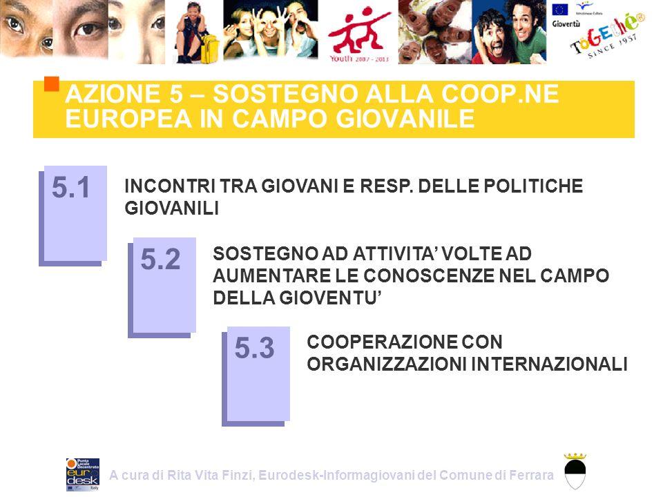 AZIONE 5 – SOSTEGNO ALLA COOP.NE EUROPEA IN CAMPO GIOVANILE INCONTRI TRA GIOVANI E RESP.
