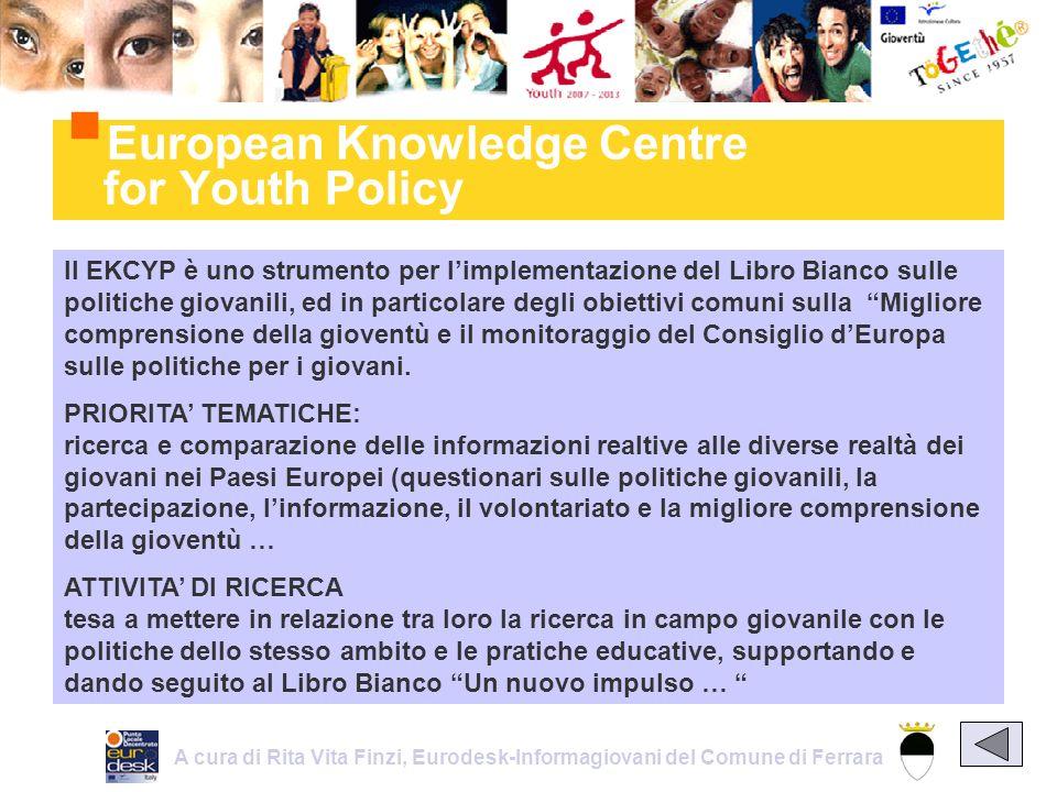 ll EKCYP è uno strumento per limplementazione del Libro Bianco sulle politiche giovanili, ed in particolare degli obiettivi comuni sulla Migliore comprensione della gioventù e il monitoraggio del Consiglio dEuropa sulle politiche per i giovani.