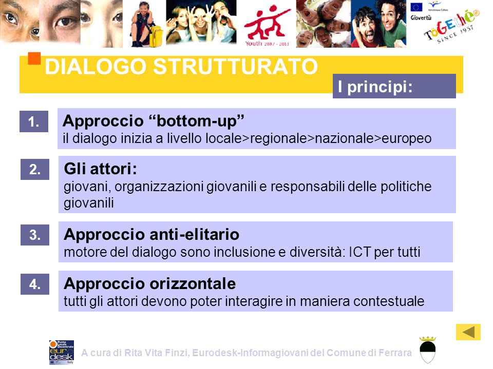 Approccio bottom-up il dialogo inizia a livello locale>regionale>nazionale>europeo DIALOGO STRUTTURATO 1.