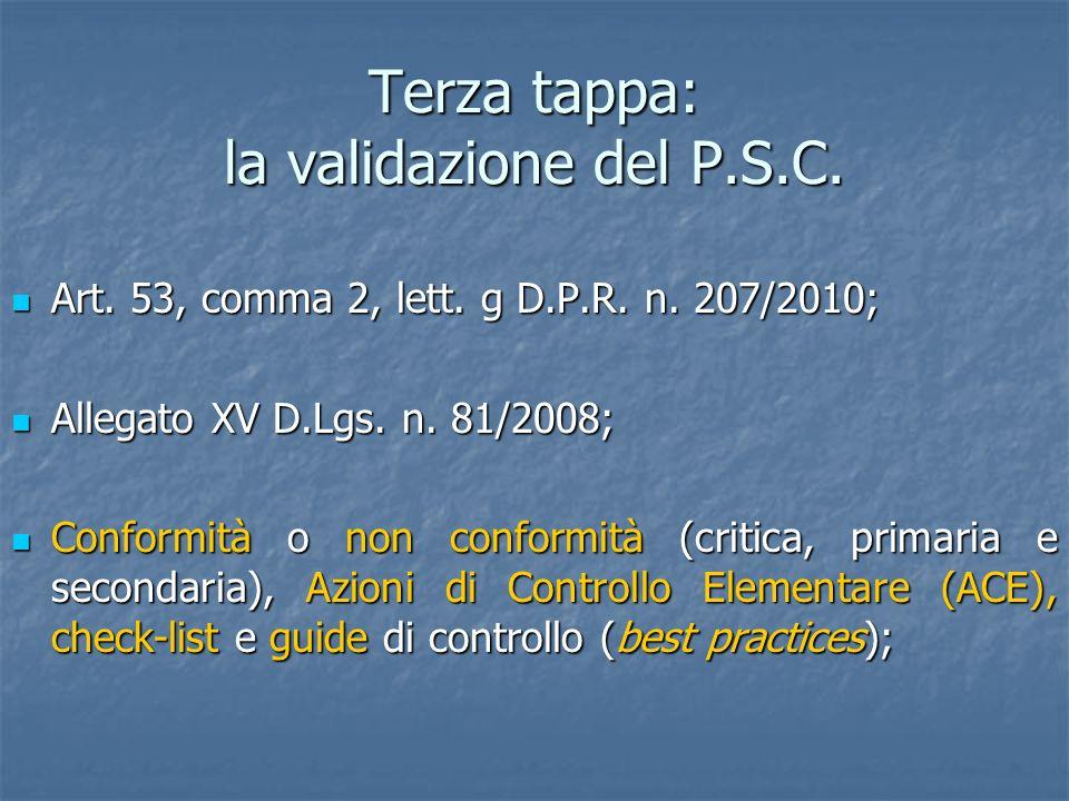 Terza tappa: la validazione del P.S.C. Art. 53, comma 2, lett. g D.P.R. n. 207/2010; Art. 53, comma 2, lett. g D.P.R. n. 207/2010; Allegato XV D.Lgs.