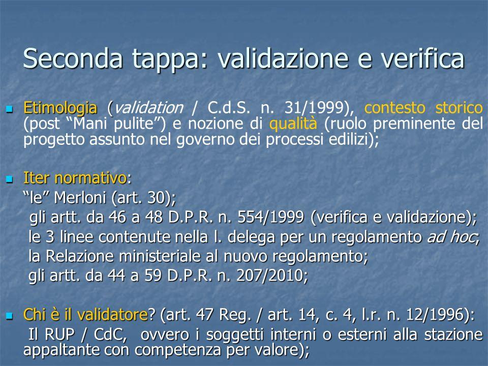Seconda tappa: validazione e verifica Etimologia ( Etimologia (validation / C.d.S. n. 31/1999), contesto storico (post Mani pulite) e nozione di quali