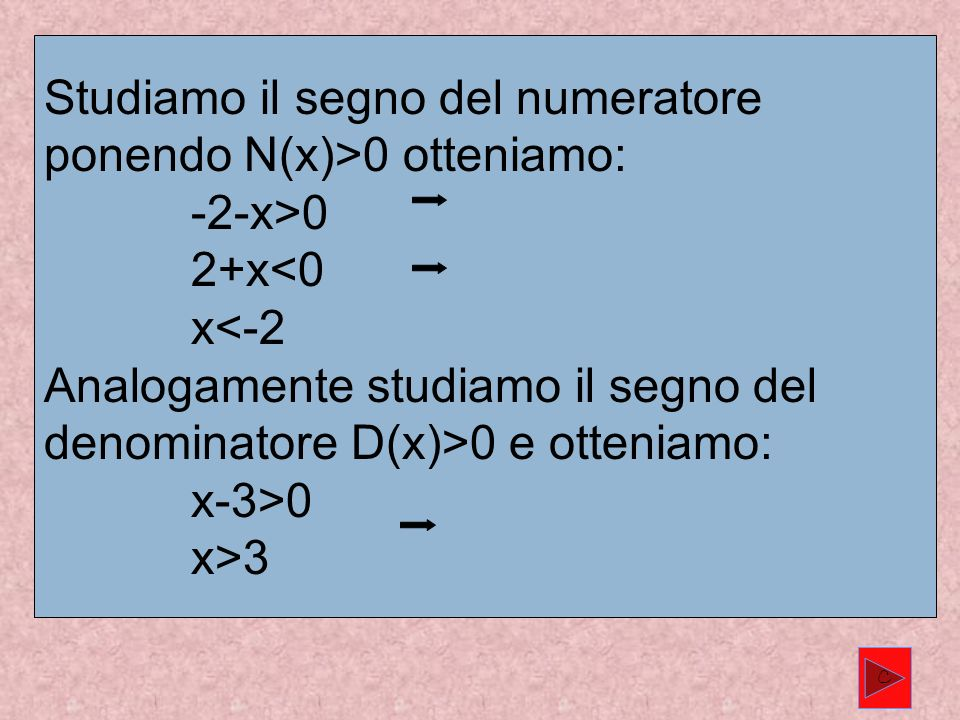 Studiamo il segno del numeratore ponendo N(x)>0 otteniamo: -2-x>0 2+x 0 e otteniamo: x-3>0 x>3 C