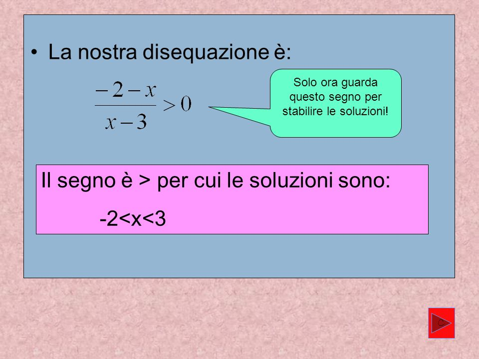 La nostra disequazione è: Il segno è > per cui le soluzioni sono: -2<x<3 Solo ora guarda questo segno per stabilire le soluzioni.