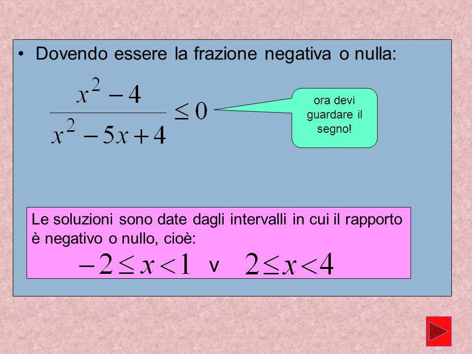 Dovendo essere la frazione negativa o nulla: Le soluzioni sono date dagli intervalli in cui il rapporto è negativo o nullo, cioè: v ora devi guardare il segno.