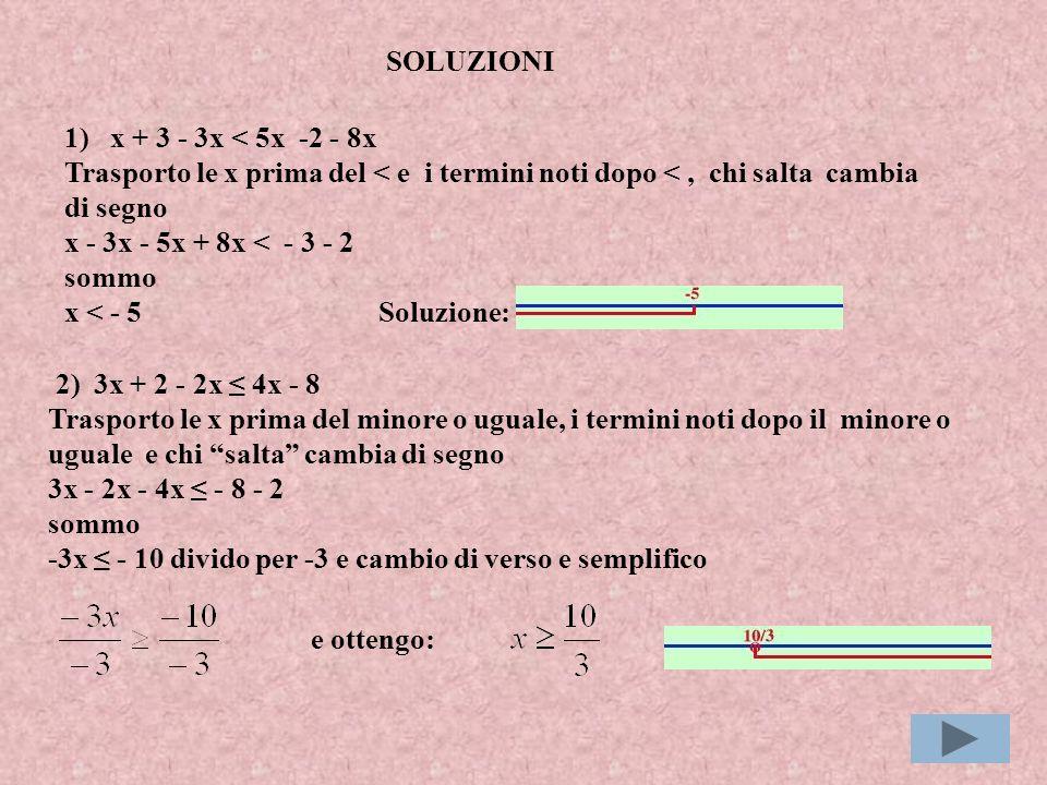 1) x + 3 - 3x < 5x -2 - 8x Trasporto le x prima del < e i termini noti dopo <, chi salta cambia di segno x - 3x - 5x + 8x < - 3 - 2 sommo x < - 5Soluzione: 2) 3x + 2 - 2x 4x - 8 Trasporto le x prima del minore o uguale, i termini noti dopo il minore o uguale e chi salta cambia di segno 3x - 2x - 4x - 8 - 2 sommo -3x - 10 divido per -3 e cambio di verso e semplifico SOLUZIONI e ottengo: