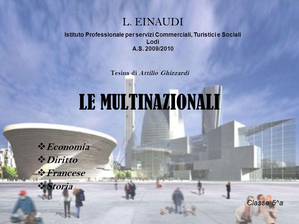 LE MULTINAZIONALI Economia Diritto Francese Storia L. EINAUDI Istituto Professionale per servizi Commerciali, Turistici e Sociali Lodi A.S. 2009/2010