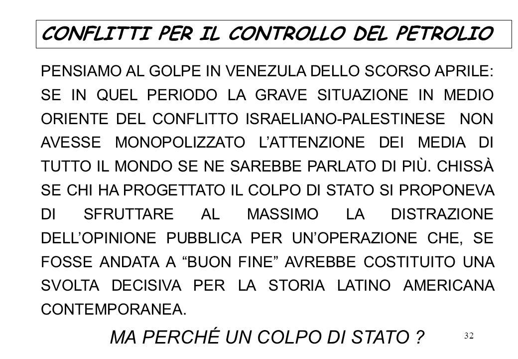 32 PENSIAMO AL GOLPE IN VENEZULA DELLO SCORSO APRILE: SE IN QUEL PERIODO LA GRAVE SITUAZIONE IN MEDIO ORIENTE DEL CONFLITTO ISRAELIANO-PALESTINESE NON