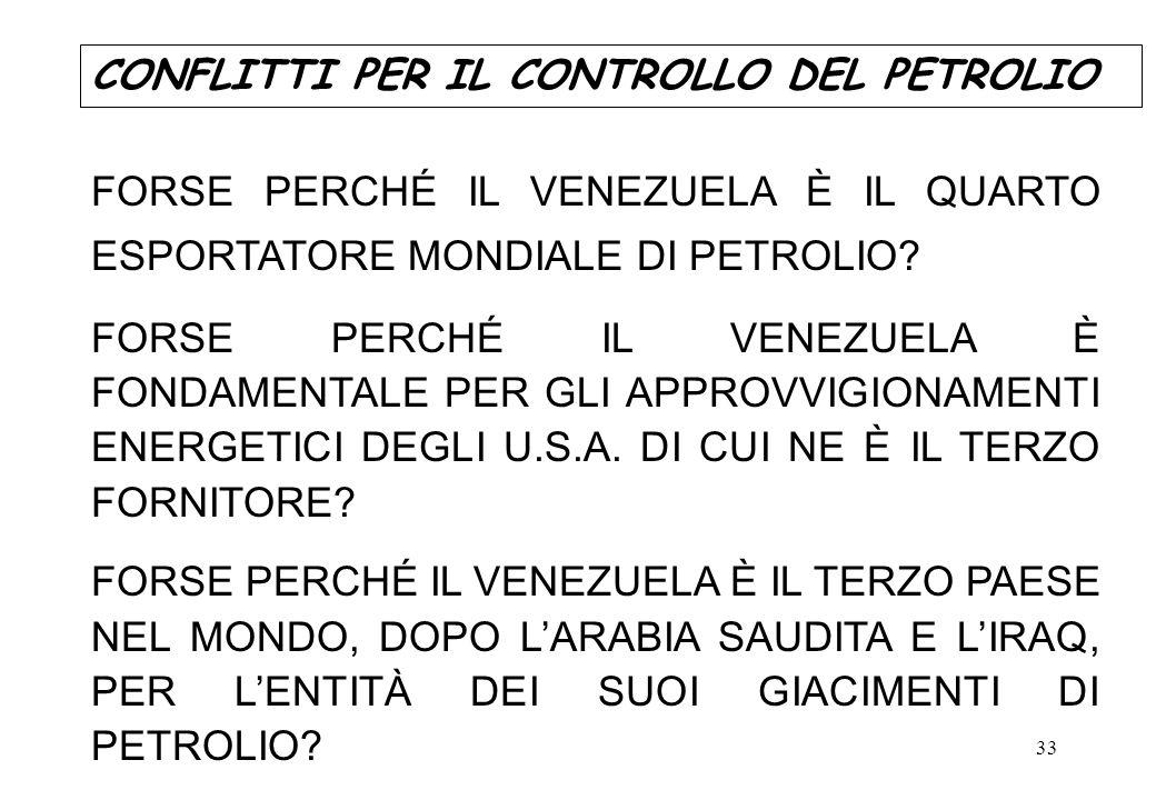 33 FORSE PERCHÉ IL VENEZUELA È IL QUARTO ESPORTATORE MONDIALE DI PETROLIO? FORSE PERCHÉ IL VENEZUELA È FONDAMENTALE PER GLI APPROVVIGIONAMENTI ENERGET