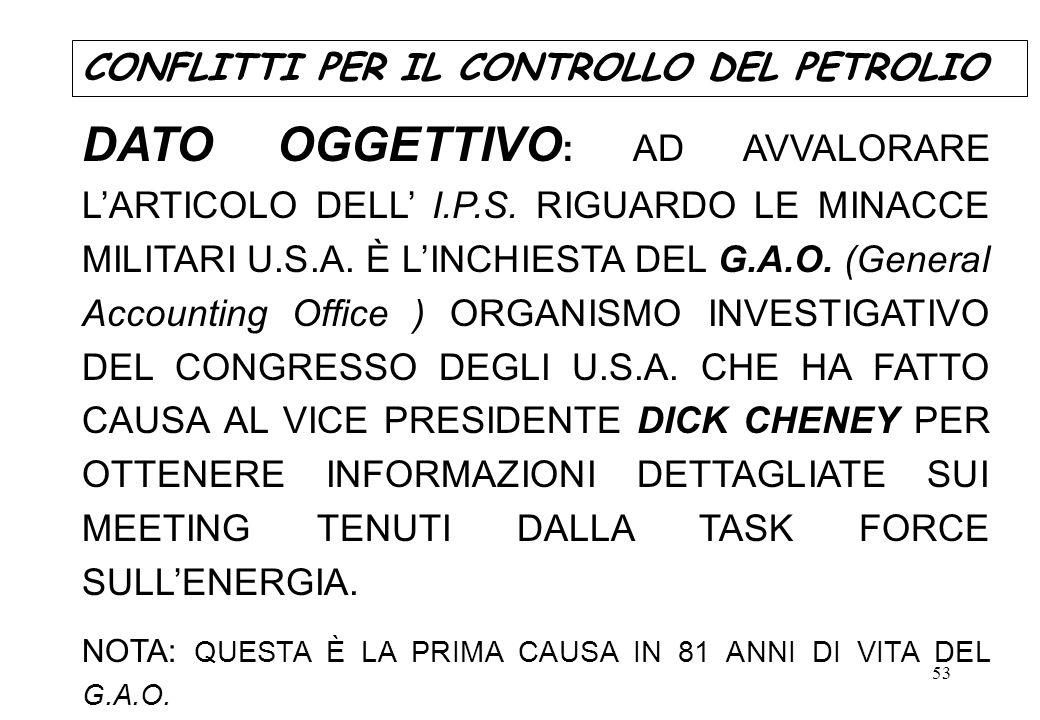 53 DATO OGGETTIVO : AD AVVALORARE LARTICOLO DELL I.P.S. RIGUARDO LE MINACCE MILITARI U.S.A. È LINCHIESTA DEL G.A.O. (General Accounting Office ) ORGAN