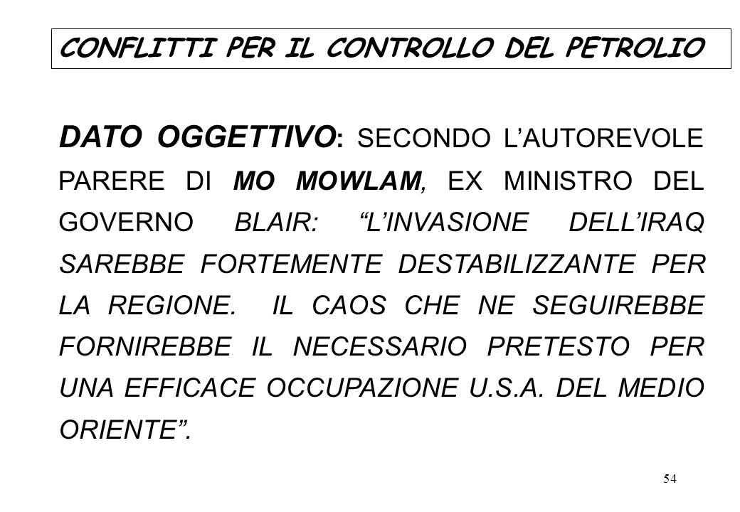 54 DATO OGGETTIVO : SECONDO LAUTOREVOLE PARERE DI MO MOWLAM, EX MINISTRO DEL GOVERNO BLAIR: LINVASIONE DELLIRAQ SAREBBE FORTEMENTE DESTABILIZZANTE PER