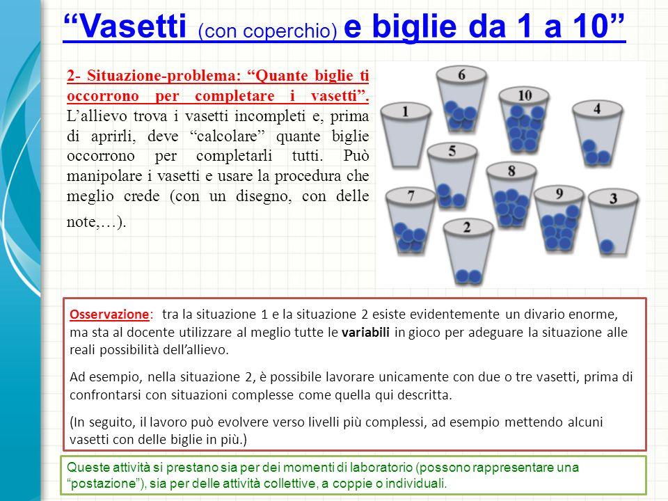 Progressione 1- Situazione base: lattività consiste semplicemente nel mettere in un bicchiere una biglia (o castagna, o ciottolo,…), in un altro due biglie,… e così via fino al dieci.