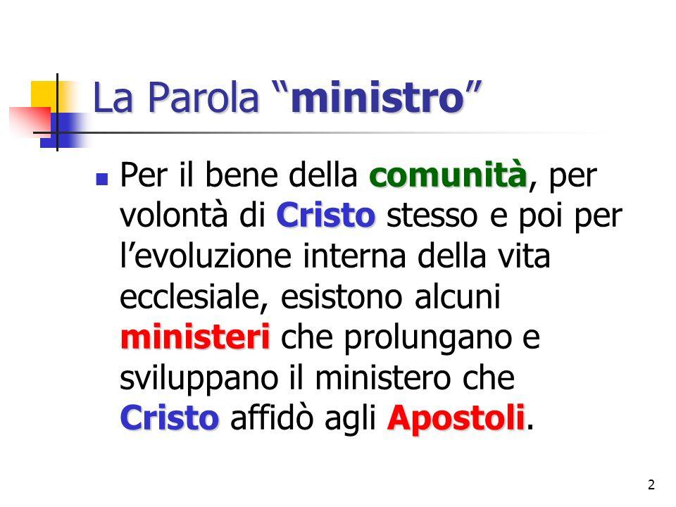 2 La Parola ministro comunità Cristo ministeri CristoApostoli Per il bene della comunità, per volontà di Cristo stesso e poi per levoluzione interna d