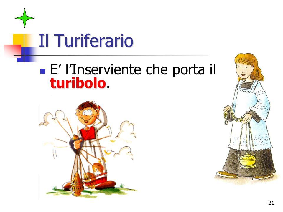 21 Il Turiferario turibolo E lInserviente che porta il turibolo.
