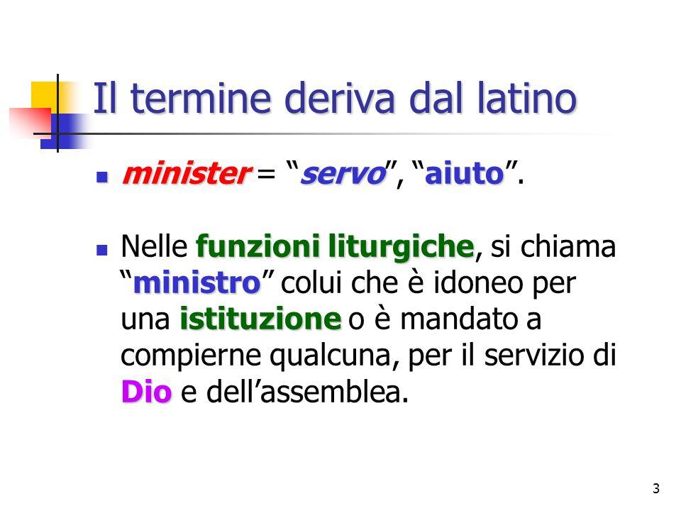3 Il termine deriva dal latino ministerservoaiuto minister = servo, aiuto. funzioni liturgiche ministro istituzione Dio Nelle funzioni liturgiche, si