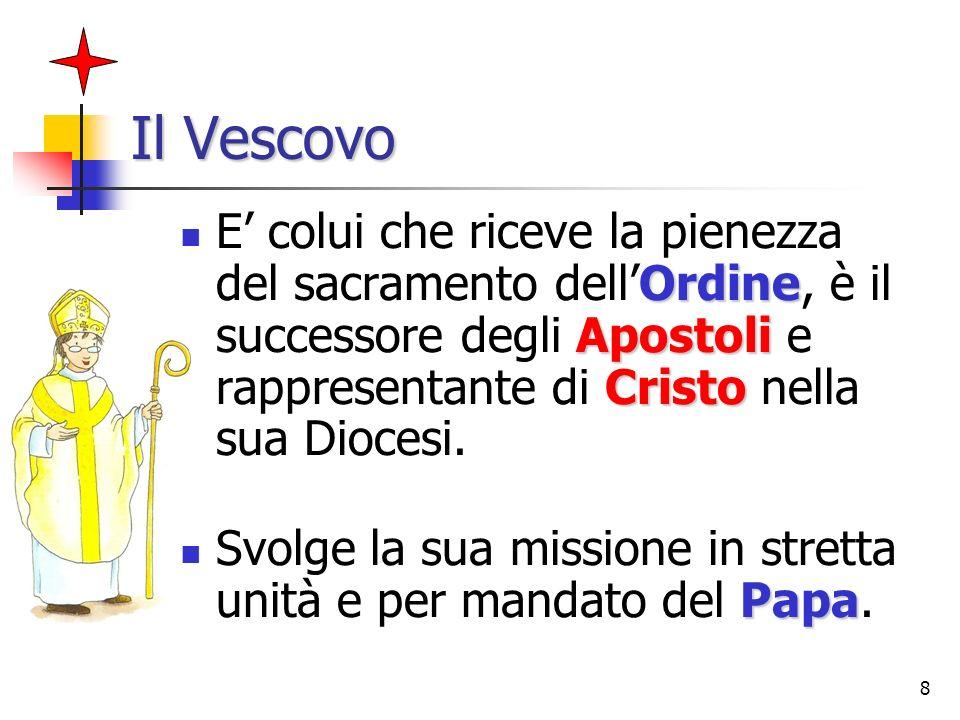 8 Il Vescovo Ordine Apostoli Cristo E colui che riceve la pienezza del sacramento dellOrdine, è il successore degli Apostoli e rappresentante di Crist
