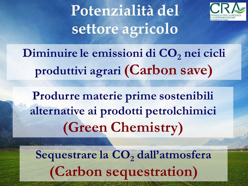 Diminuire le emissioni di CO 2 nei cicli produttivi agrari (Carbon save) Sequestrare la CO 2 dallatmosfera (Carbon sequestration) Produrre materie prime sostenibili alternative ai prodotti petrolchimici (Green Chemistry) Potenzialità del settore agricolo
