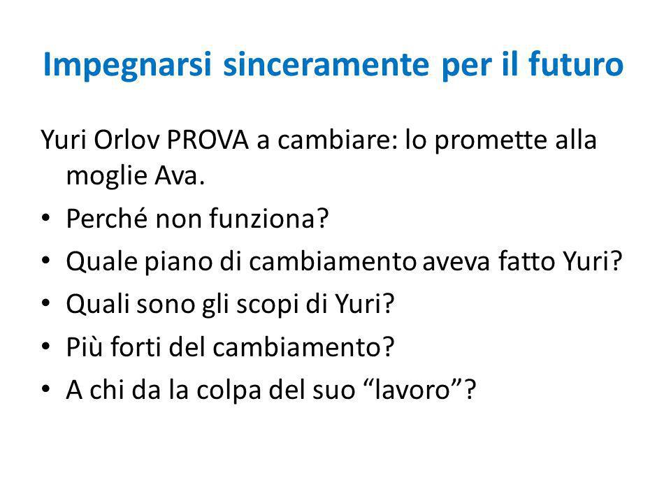 Impegnarsi sinceramente per il futuro Yuri Orlov PROVA a cambiare: lo promette alla moglie Ava.