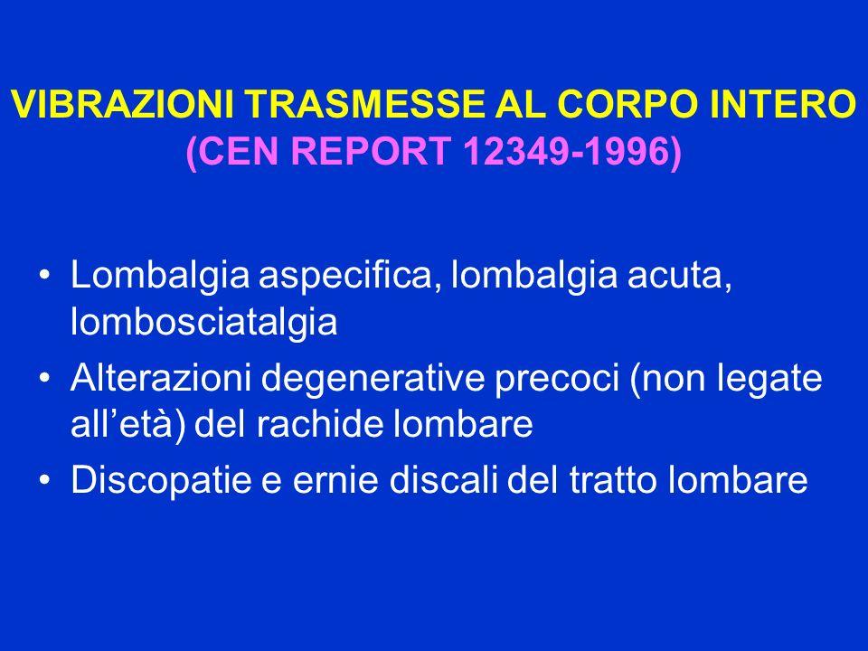 VIBRAZIONI TRASMESSE AL CORPO INTERO (CEN REPORT 12349-1996) Lombalgia aspecifica, lombalgia acuta, lombosciatalgia Alterazioni degenerative precoci (