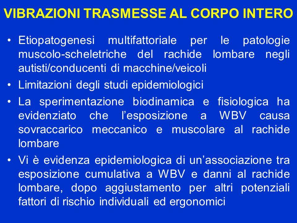 VIBRAZIONI TRASMESSE AL CORPO INTERO Etiopatogenesi multifattoriale per le patologie muscolo-scheletriche del rachide lombare negli autisti/conducenti