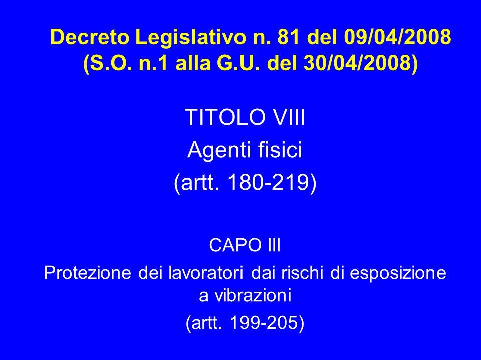 Decreto Legislativo n. 81 del 09/04/2008 (S.O. n.1 alla G.U. del 30/04/2008) TITOLO VIII Agenti fisici (artt. 180-219) CAPO III Protezione dei lavorat