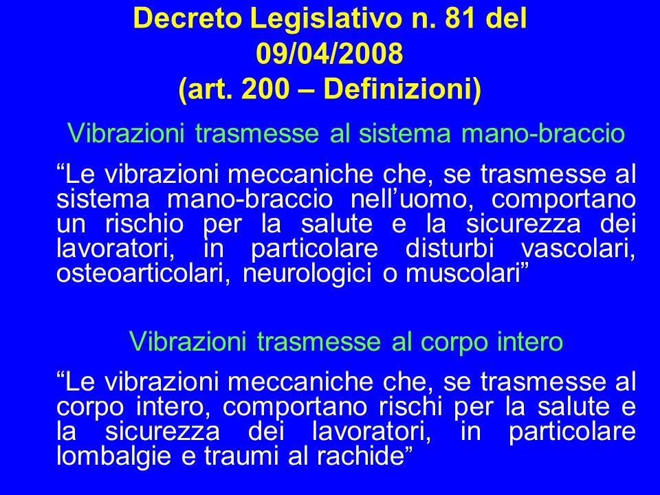 Decreto Legislativo n. 81 del 09/04/2008 (art. 200 – Definizioni) Vibrazioni trasmesse al sistema mano-braccio Le vibrazioni meccaniche che, se trasme