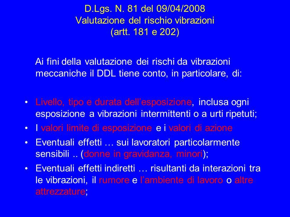 D.Lgs. N. 81 del 09/04/2008 Valutazione del rischio vibrazioni (artt. 181 e 202) Ai fini della valutazione dei rischi da vibrazioni meccaniche il DDL