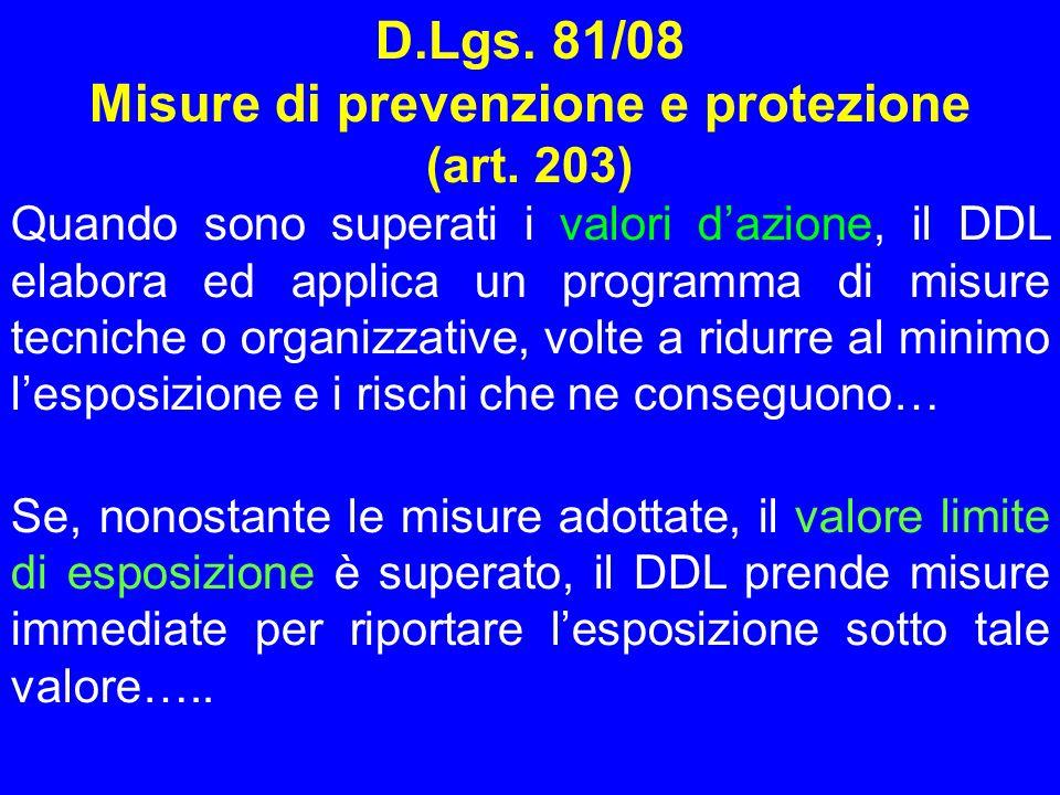 D.Lgs. 81/08 Misure di prevenzione e protezione (art. 203) Quando sono superati i valori dazione, il DDL elabora ed applica un programma di misure tec