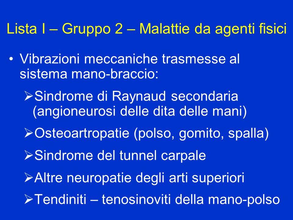 Lista I – Gruppo 2 – Malattie da agenti fisici Vibrazioni meccaniche trasmesse al sistema mano-braccio: Sindrome di Raynaud secondaria (angioneurosi d