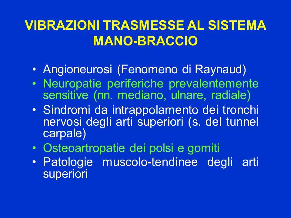 VIBRAZIONI TRASMESSE AL SISTEMA MANO-BRACCIO Angioneurosi (Fenomeno di Raynaud) Neuropatie periferiche prevalentemente sensitive (nn. mediano, ulnare,