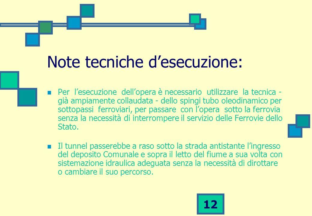 12 Note tecniche desecuzione: Per lesecuzione dellopera è necessario utilizzare la tecnica - già ampiamente collaudata - dello spingi tubo oleodinamic