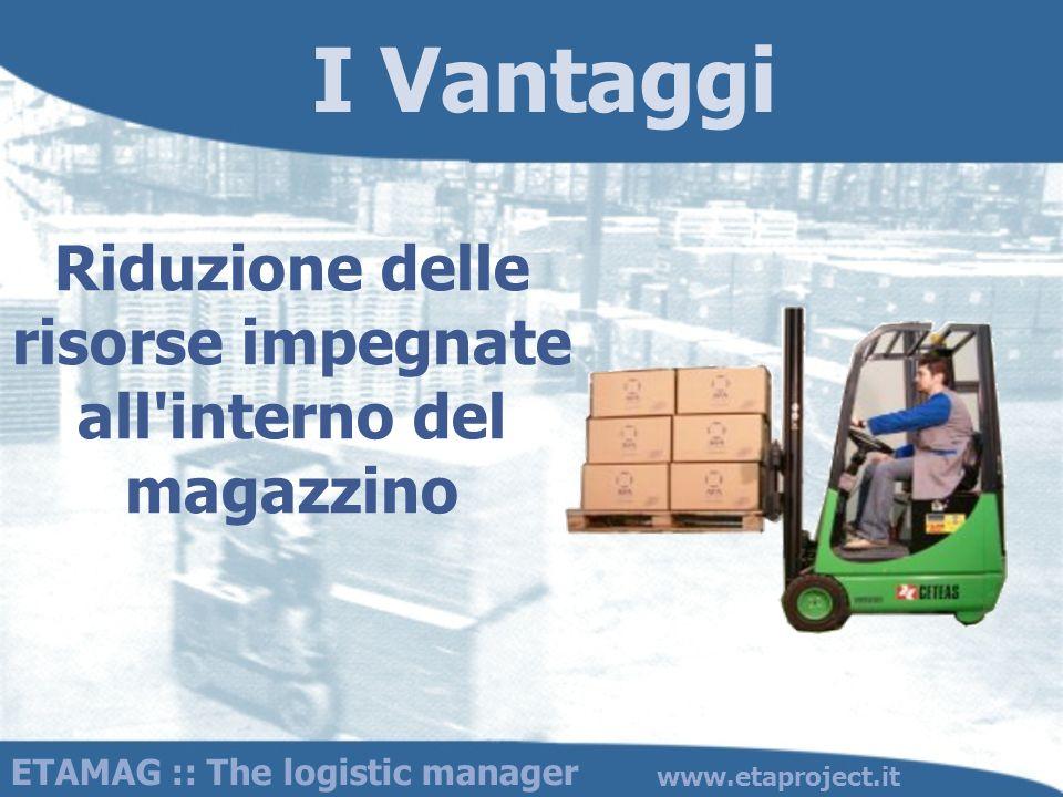 I Vantaggi Riduzione delle risorse impegnate all'interno del magazzino ETAMAG :: The logistic manager www.etaproject.it