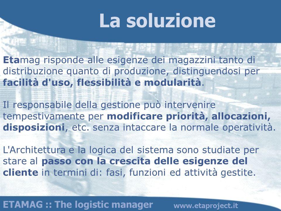 ETAMAG :: The logistic manager www.etaproject.it Etamag risponde alle esigenze dei magazzini tanto di distribuzione quanto di produzione, distinguendo