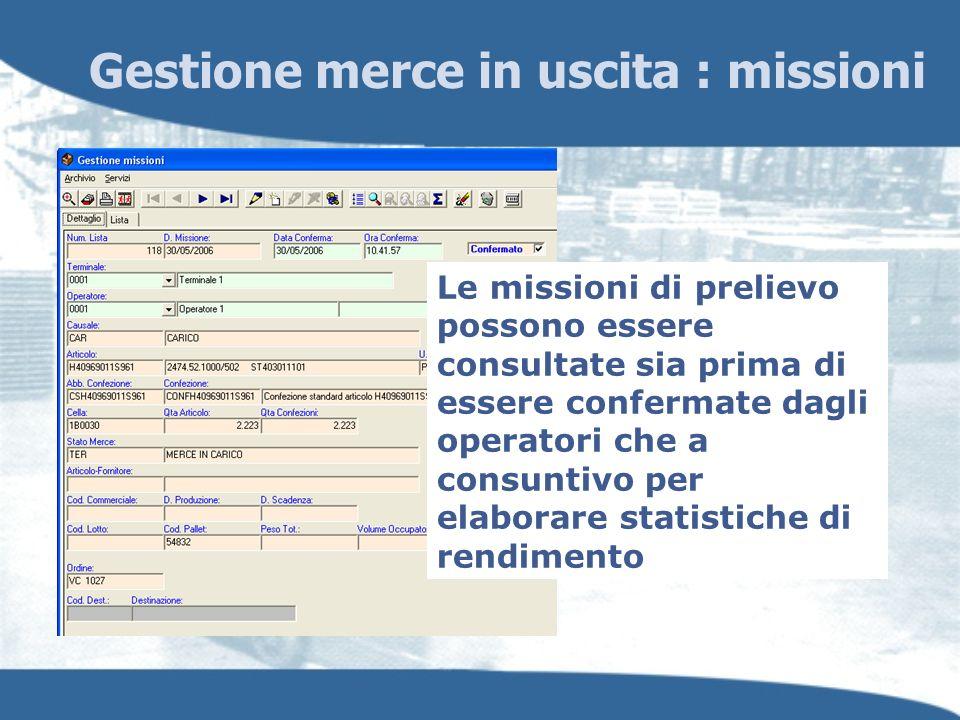 Gestione merce in uscita : missioni Le missioni di prelievo possono essere consultate sia prima di essere confermate dagli operatori che a consuntivo