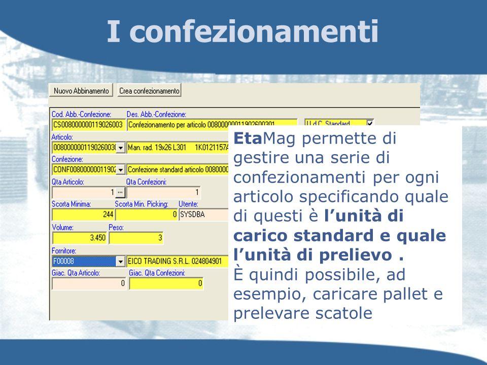 I confezionamenti EtaMag permette di gestire una serie di confezionamenti per ogni articolo specificando quale di questi è lunità di carico standard e