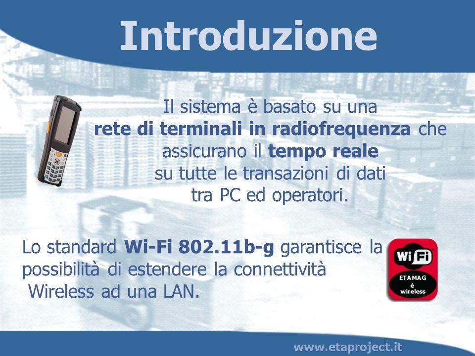 www.etaproject.it Il sistema è basato su una rete di terminali in radiofrequenza che assicurano il tempo reale su tutte le transazioni di dati tra PC