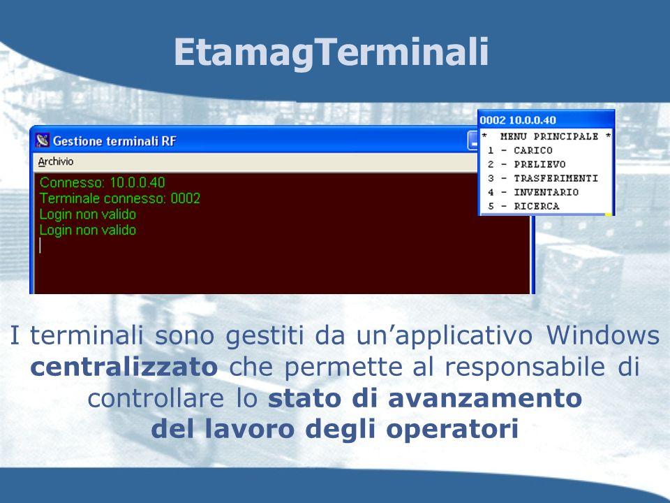 I terminali sono gestiti da unapplicativo Windows centralizzato che permette al responsabile di controllare lo stato di avanzamento del lavoro degli o