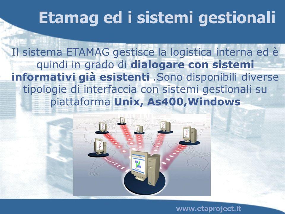 Etamag ed i sistemi gestionali Il sistema ETAMAG gestisce la logistica interna ed è quindi in grado di dialogare con sistemi informativi già esistenti