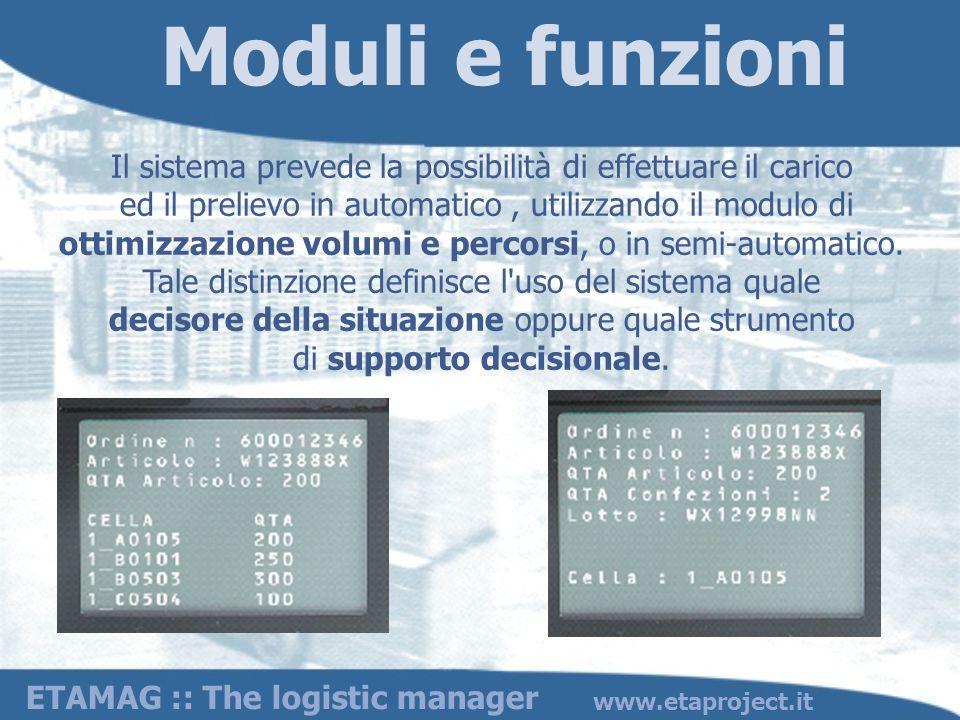 www.etaproject.it Il sistema prevede la possibilità di effettuare il carico ed il prelievo in automatico, utilizzando il modulo di ottimizzazione volu