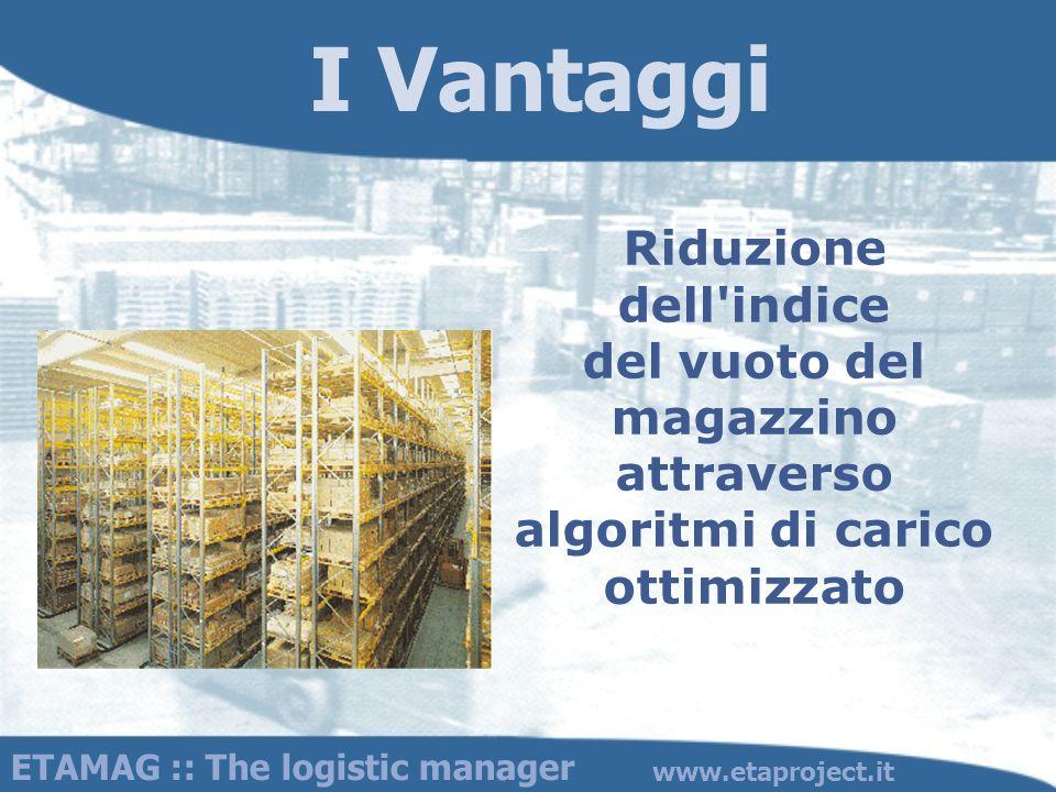 I Vantaggi Riduzione dell'indice del vuoto del magazzino attraverso algoritmi di carico ottimizzato ETAMAG :: The logistic manager www.etaproject.it