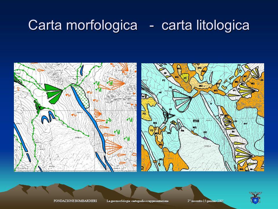 FONDAZIONE BOMBARDIERI La geomorfologia: cartografie e rappresentazione 2° incontro 13 gennaio 2005 Cartografia geoambientale