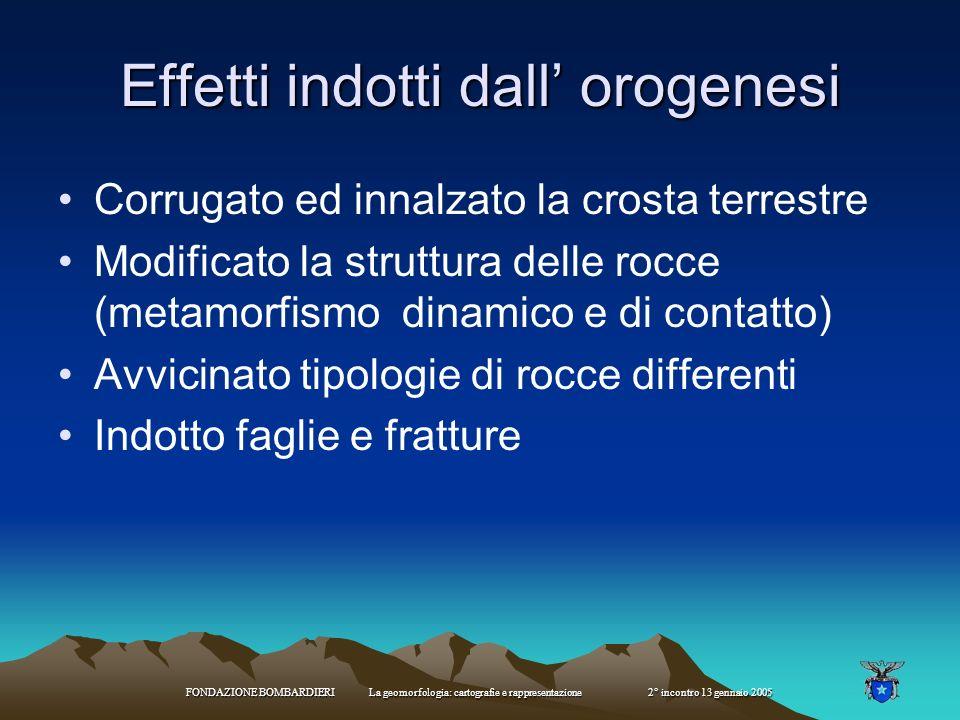 FONDAZIONE BOMBARDIERI La geomorfologia: cartografie e rappresentazione 2° incontro 13 gennaio 2005 orogenesi