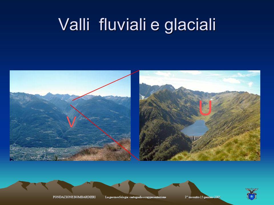 FONDAZIONE BOMBARDIERI La geomorfologia: cartografie e rappresentazione 2° incontro 13 gennaio 2005 U V Valli glaciali e valli fluviali