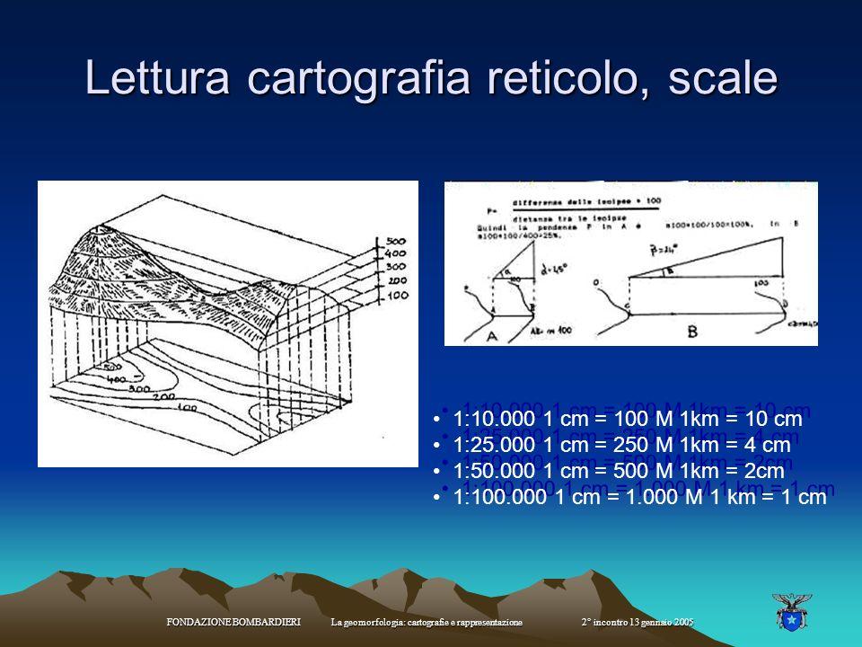 FONDAZIONE BOMBARDIERI La geomorfologia: cartografie e rappresentazione 2° incontro 13 gennaio 2005 Lettura cartografia reticolo, scale 1:10.000 1 cm = 100 M 1km = 10 cm 1:25.000 1 cm = 250 M 1km = 4 cm 1:50.000 1 cm = 500 M 1km = 2cm 1:100.000 1 cm = 1.000 M 1 km = 1 cm 1:10.000 1 cm = 100 M 1km = 10 cm 1:25.000 1 cm = 250 M 1km = 4 cm 1:50.000 1 cm = 500 M 1km = 2cm 1:100.000 1 cm = 1.000 M 1 km = 1 cm