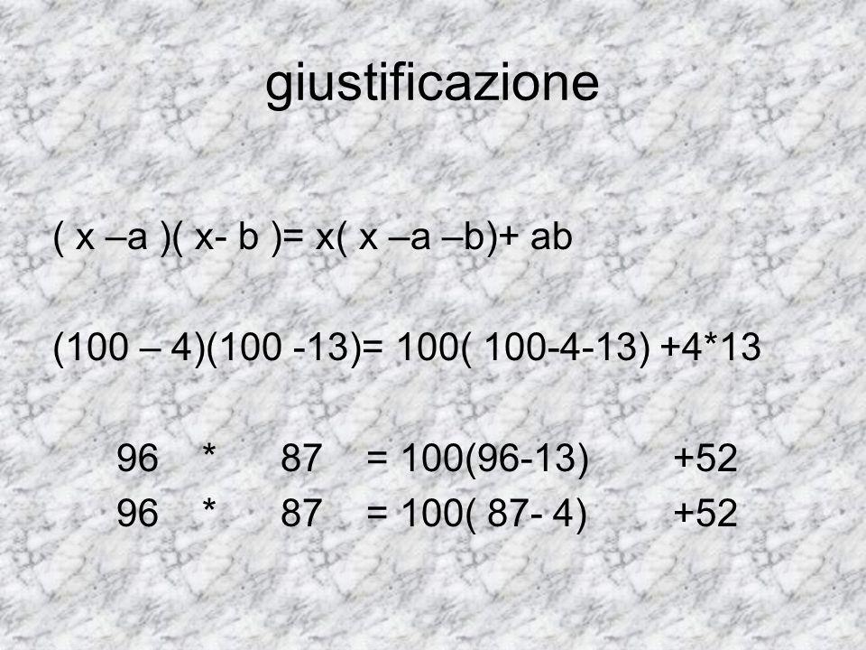 giustificazione ( x –a )( x- b )= x( x –a –b)+ ab (100 – 4)(100 -13)= 100( 100-4-13) +4*13 96 * 87 = 100(96-13) +52 96 * 87 = 100( 87- 4) +52