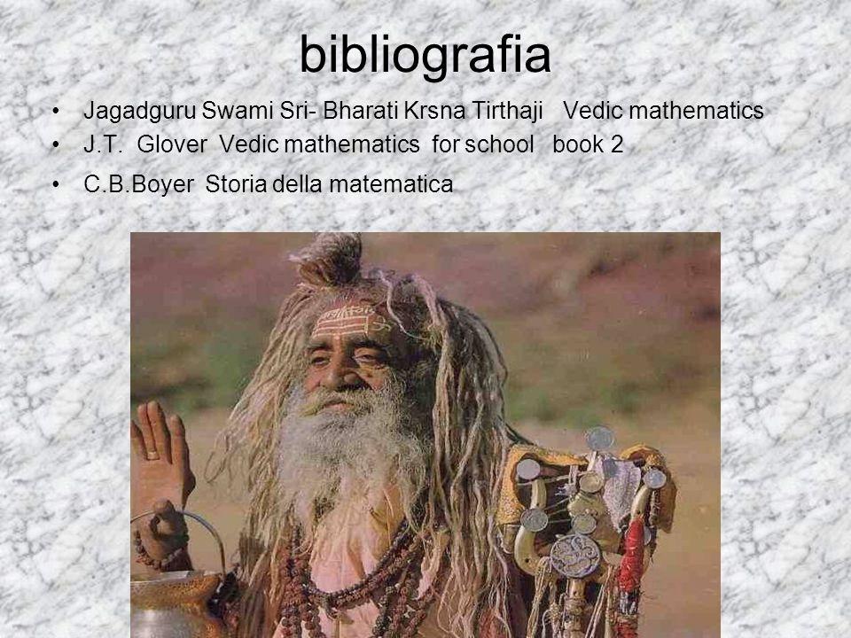 bibliografia Jagadguru Swami Sri- Bharati Krsna Tirthaji Vedic mathematics J.T. Glover Vedic mathematics for school book 2 C.B.Boyer Storia della mate