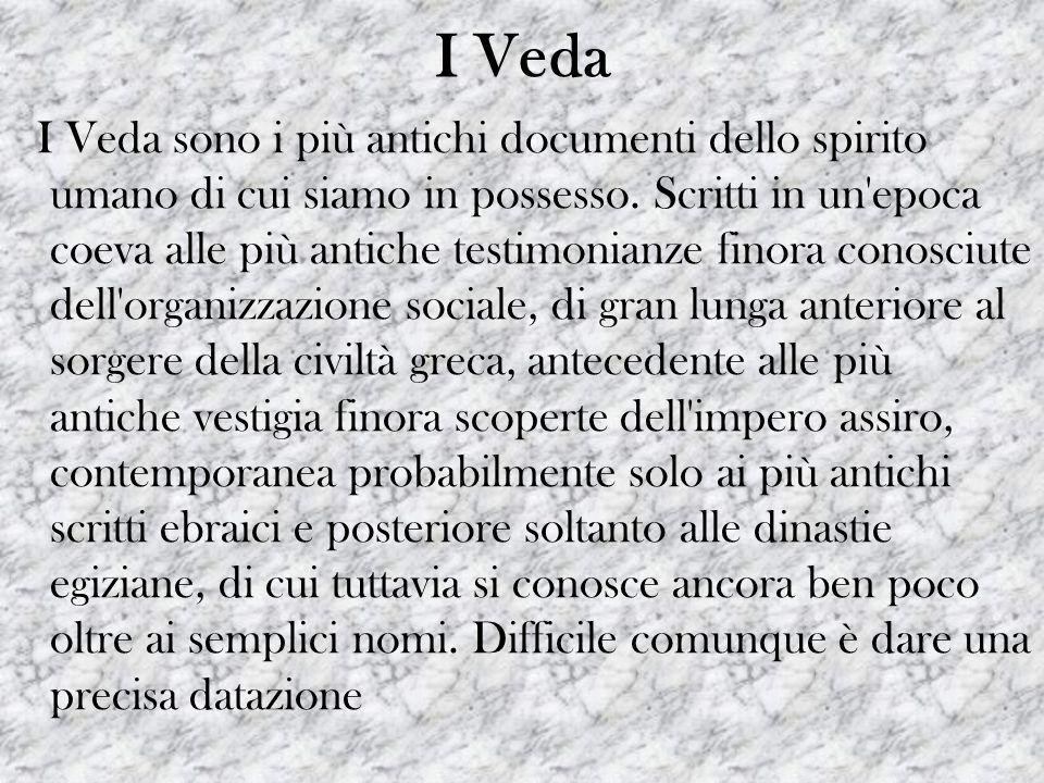 I Veda I Veda sono i più antichi documenti dello spirito umano di cui siamo in possesso. Scritti in un'epoca coeva alle più antiche testimonianze fino
